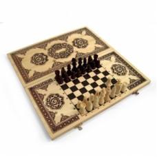 Набор шахматы, шашки, нарды 3 в 1 средний